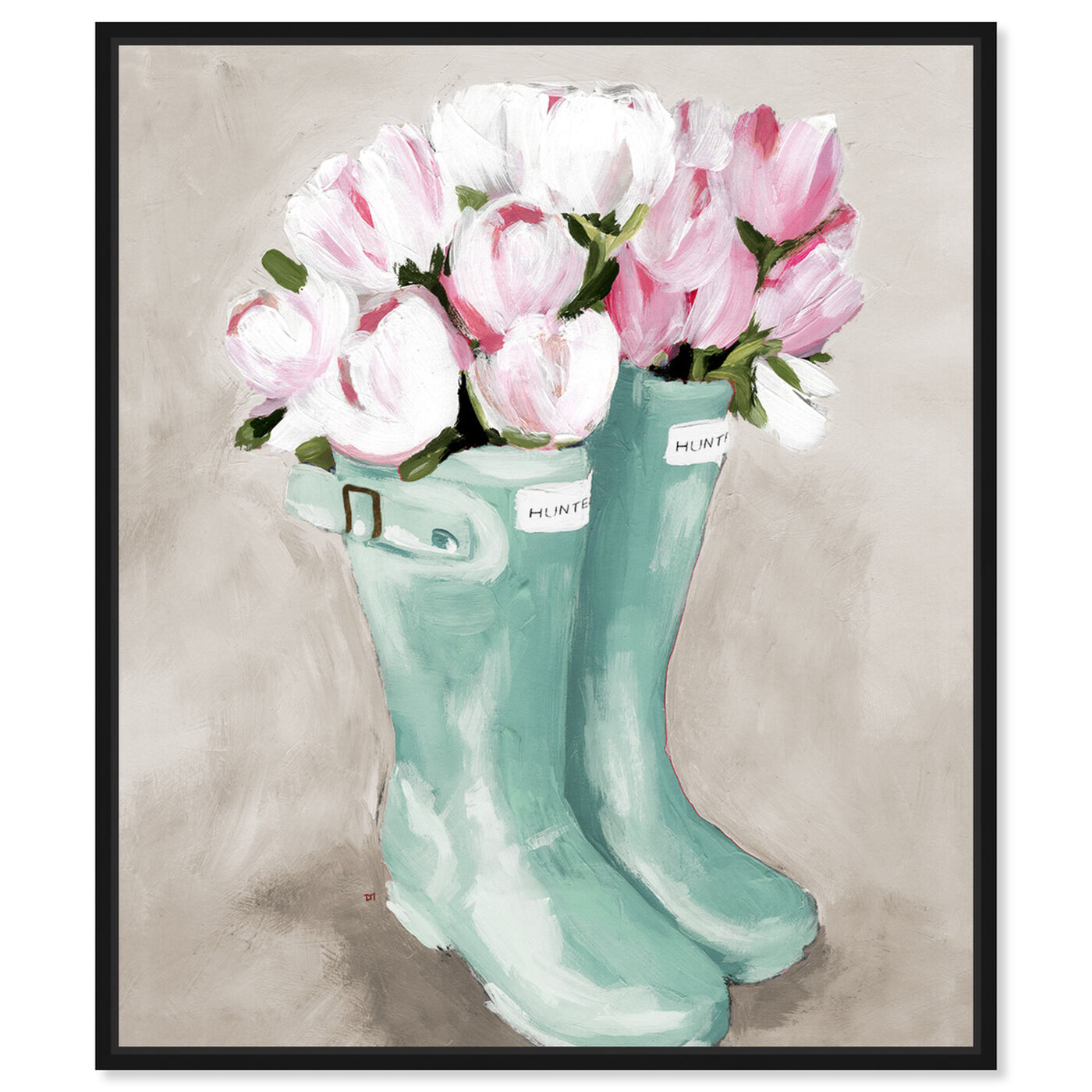 Front view of Tulips In Spring Boots featuring floral and botanical and florals art.