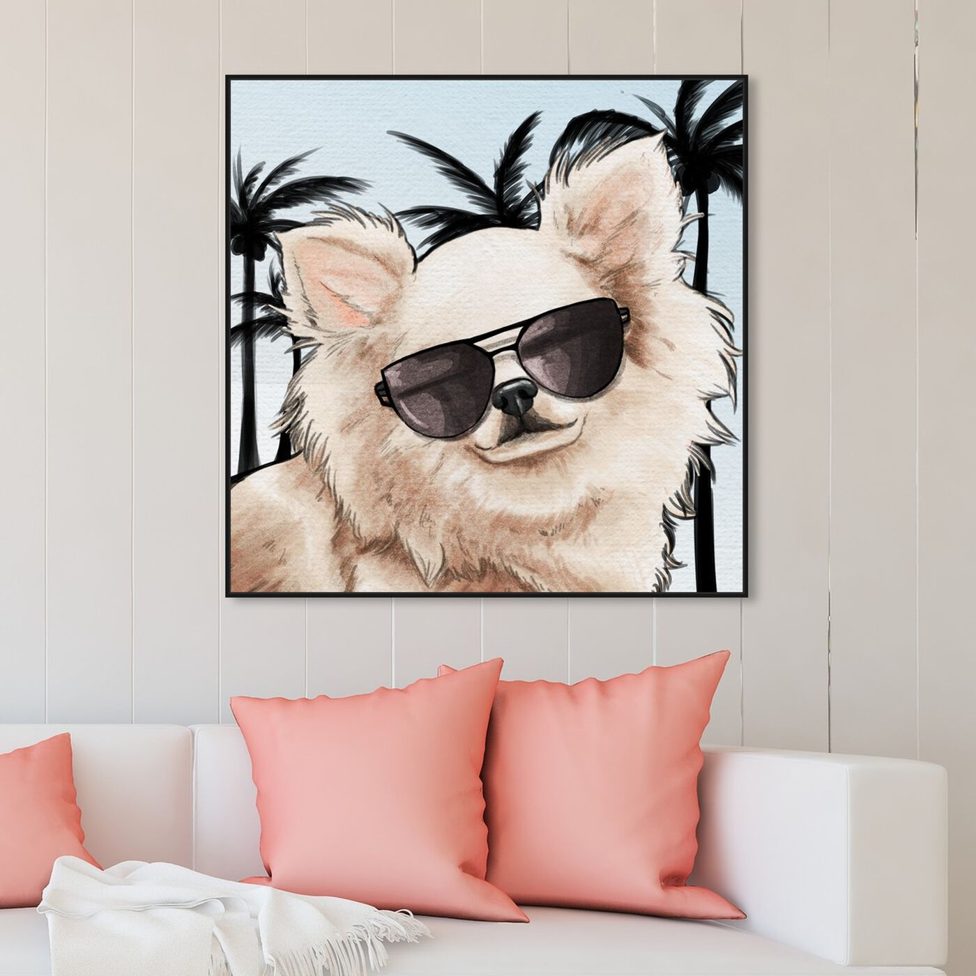 Hanging view of Chihuahua Palm Glam featuring animals and dogs and puppies art.