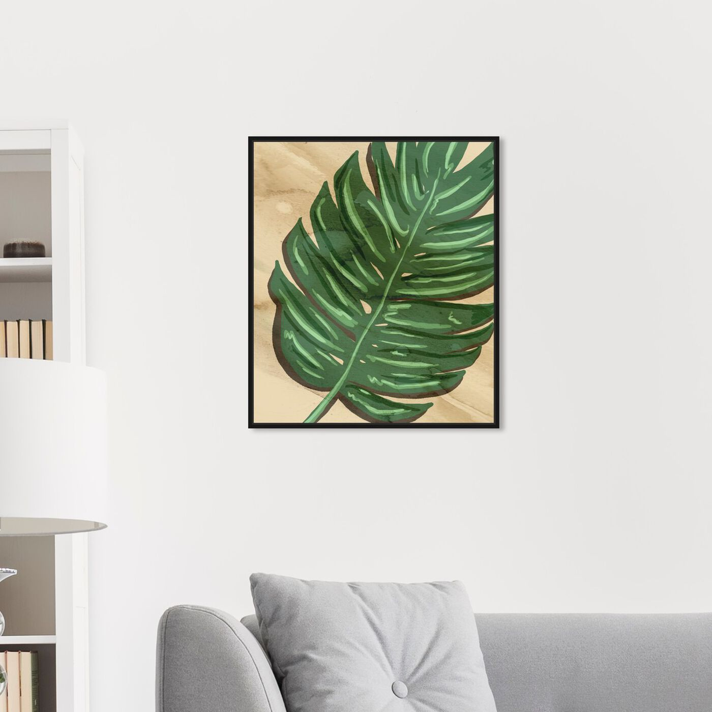 Hanging view of Neutral Leaves II featuring floral and botanical and botanicals art.