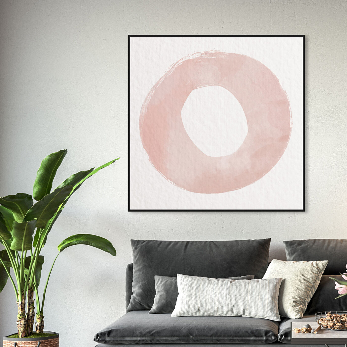 Hanging view of O of XO Blush featuring abstract and geometric art.