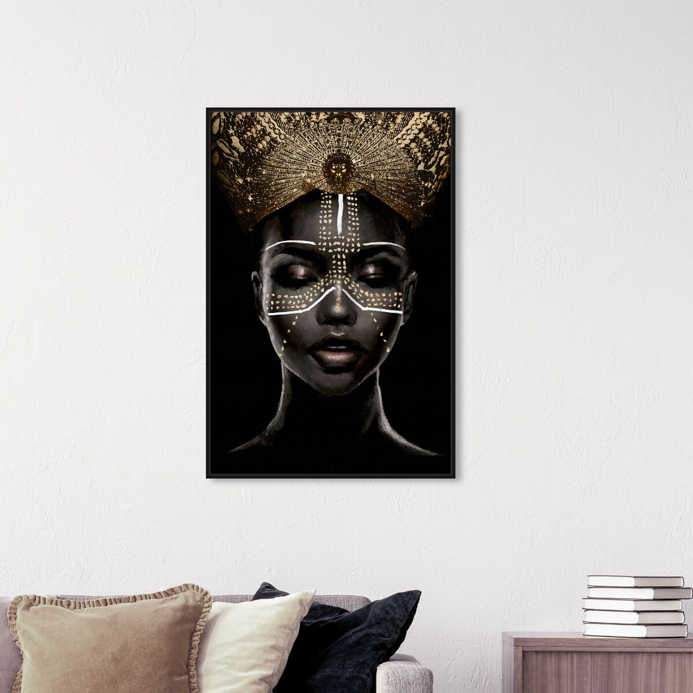 Hanging view of Queenly Reign of Gold II featuring fashion and glam and portraits art.