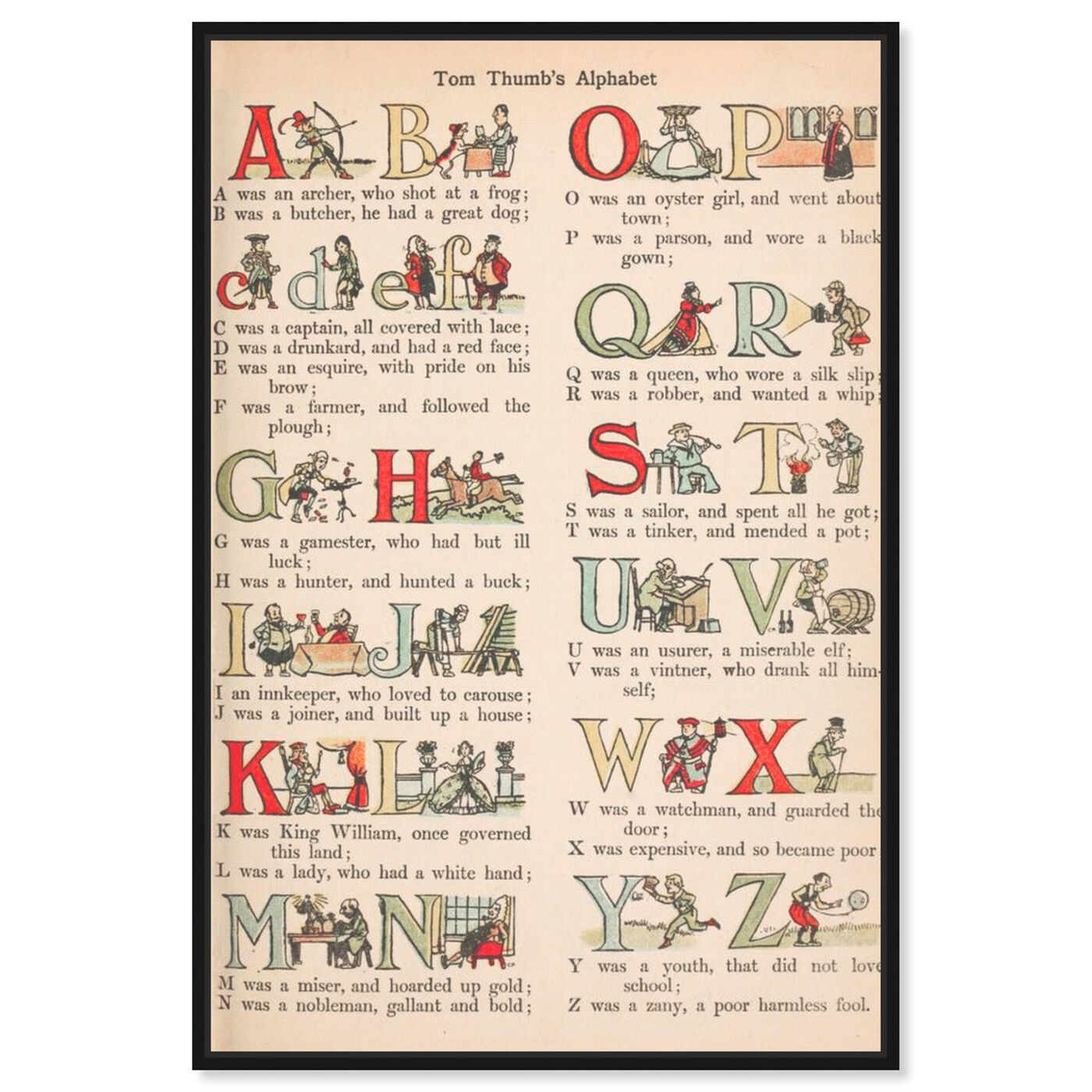 Front view of Tom Thumb's Alphabet featuring typography and quotes and letters and calligraphy art.