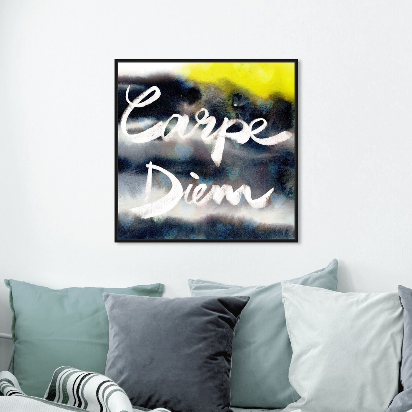 Hanging view of Carpe Diem Neon featuring typography and quotes and quotes and sayings art.