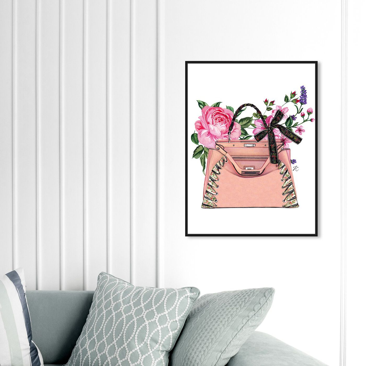 Hanging view of Doll Memories - Pink roses featuring fashion and glam and handbags art.