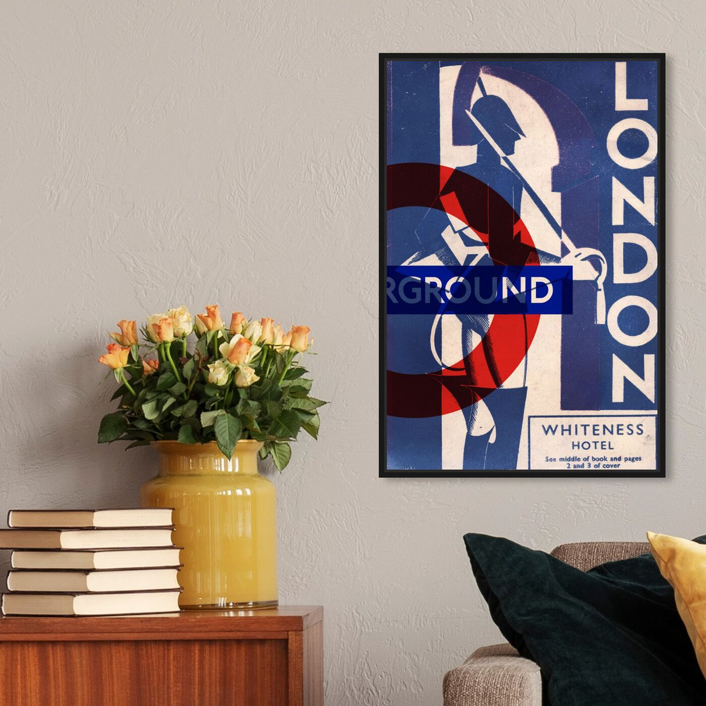 Hanging view of London Blues featuring advertising and posters art.
