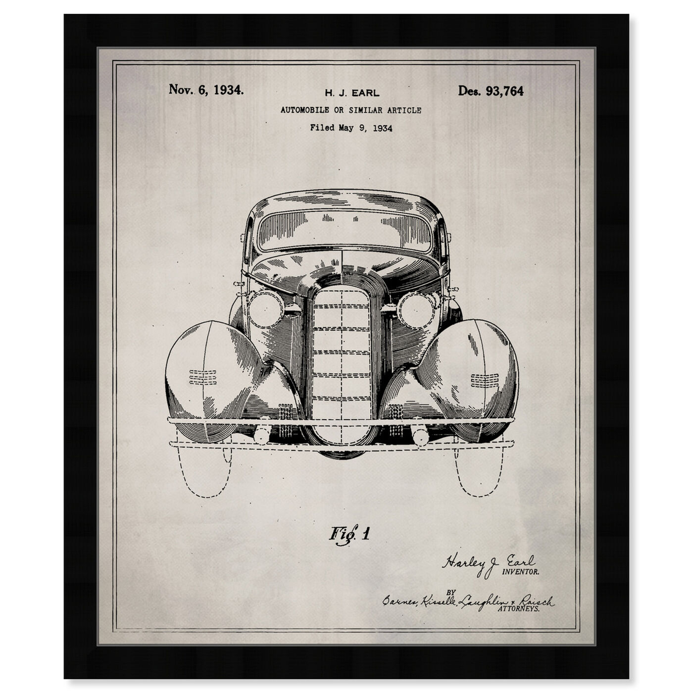 Front view of Automobile II 1934 featuring transportation and automobiles art.