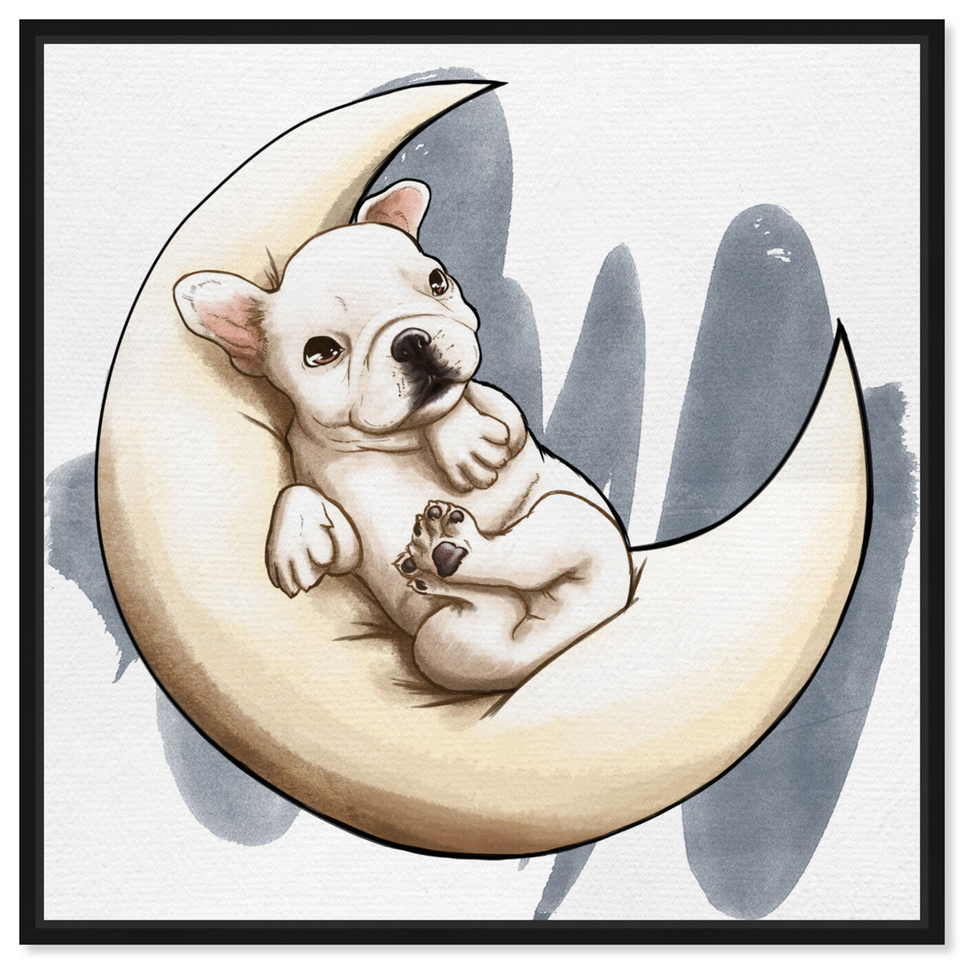 Front view of Lunar Frenchie featuring animals and dogs and puppies art.