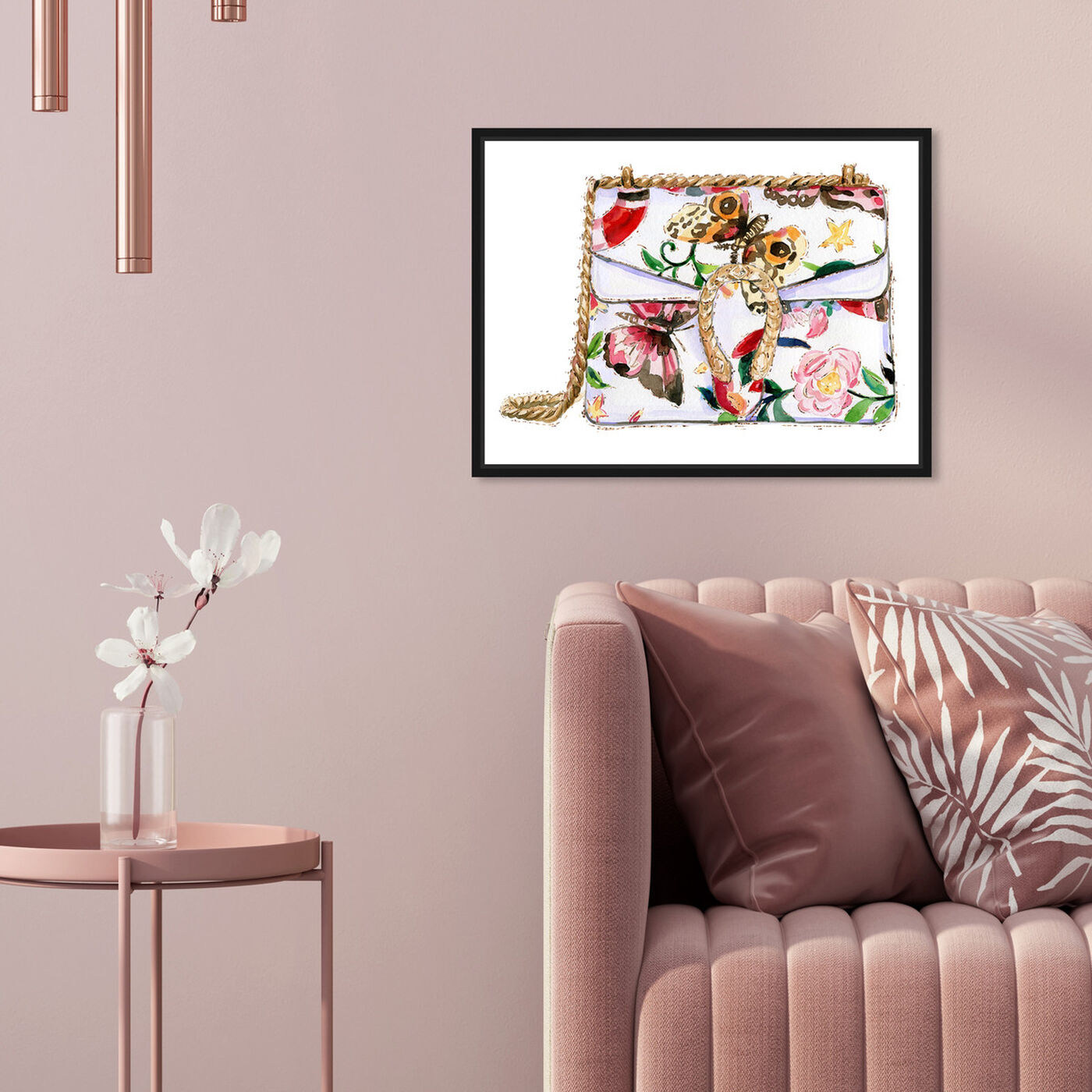 Hanging view of Butterfly Floral Bag featuring fashion and glam and handbags art.