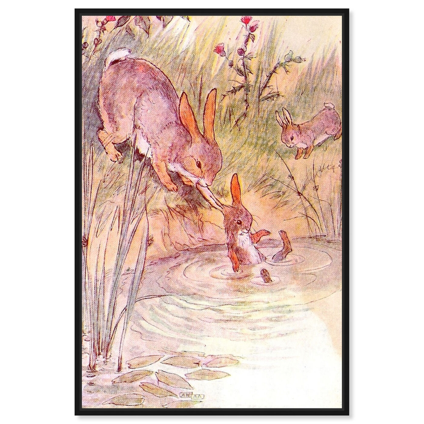Front view of Bunny Fell in the Pond featuring animals and farm animals art.