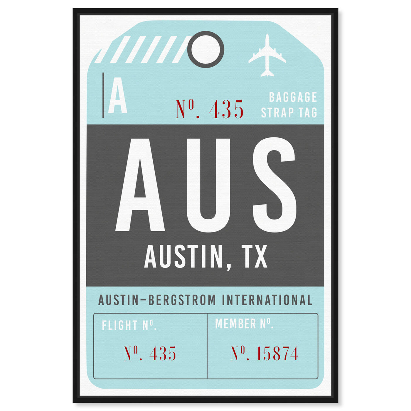 Front view of Austin Luggage Tag featuring typography and quotes and united states cities art.