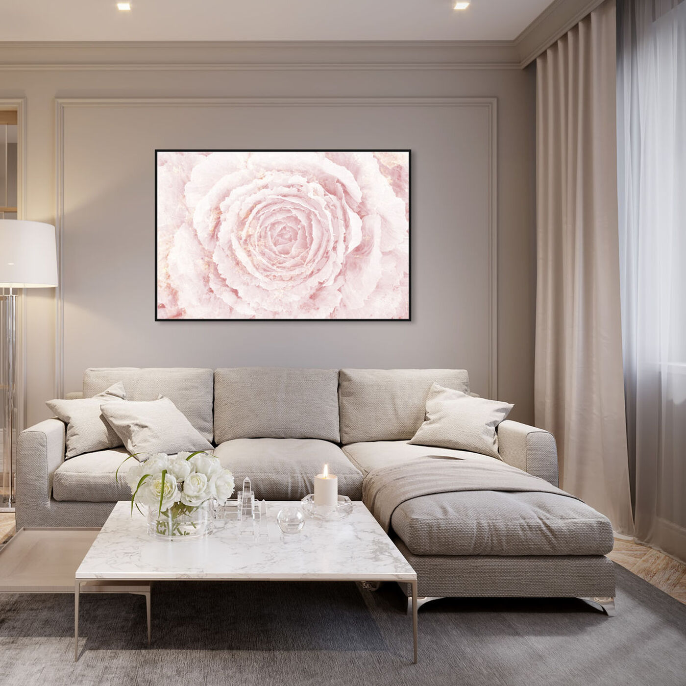 Hanging view of Blush Winter Flower Pink featuring floral and botanical and florals art.