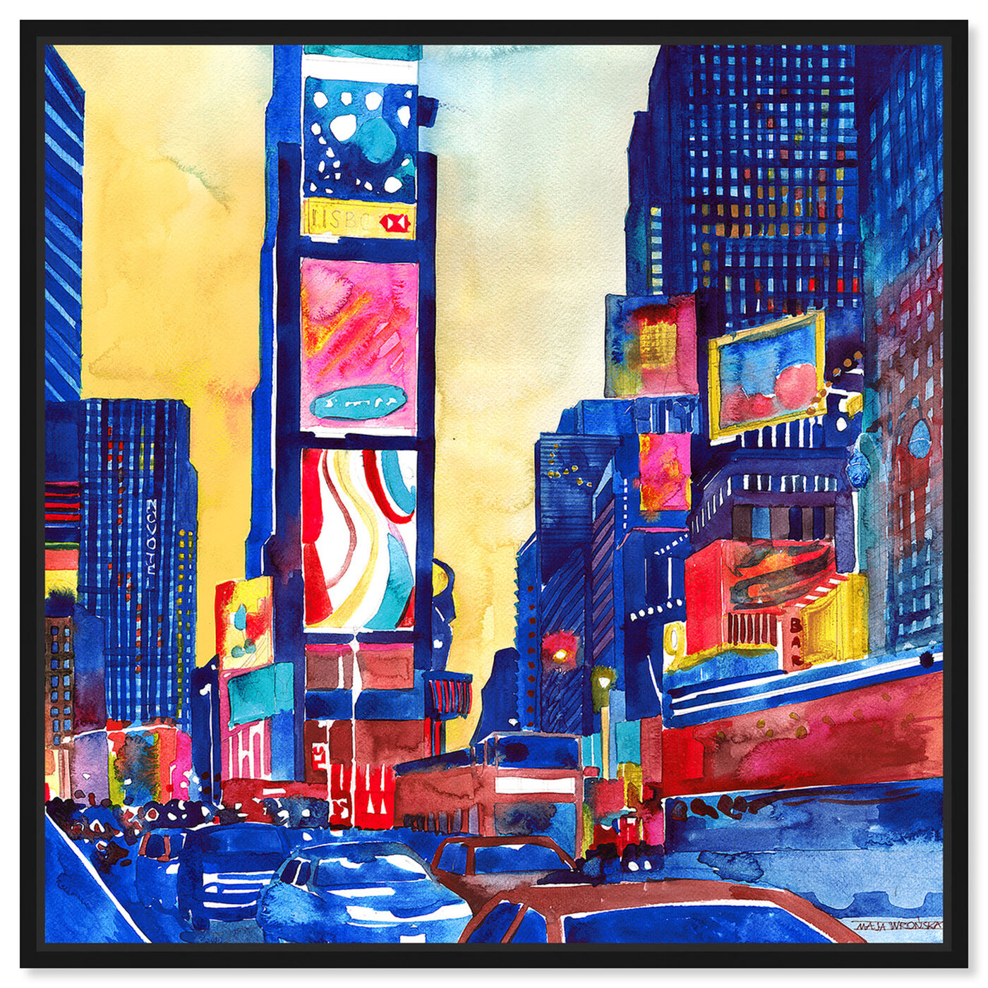 Front view of Maja Wronska - Lively Busy Street featuring cities and skylines and united states cities art.