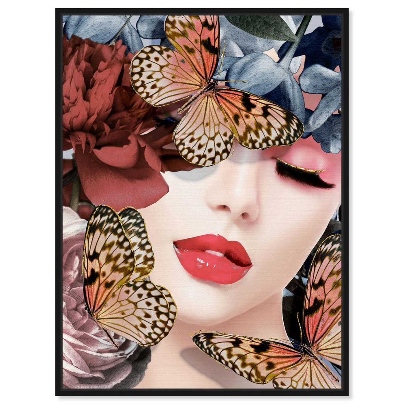 Front view of Monarch in the Meadow featuring fashion and glam and lips art.