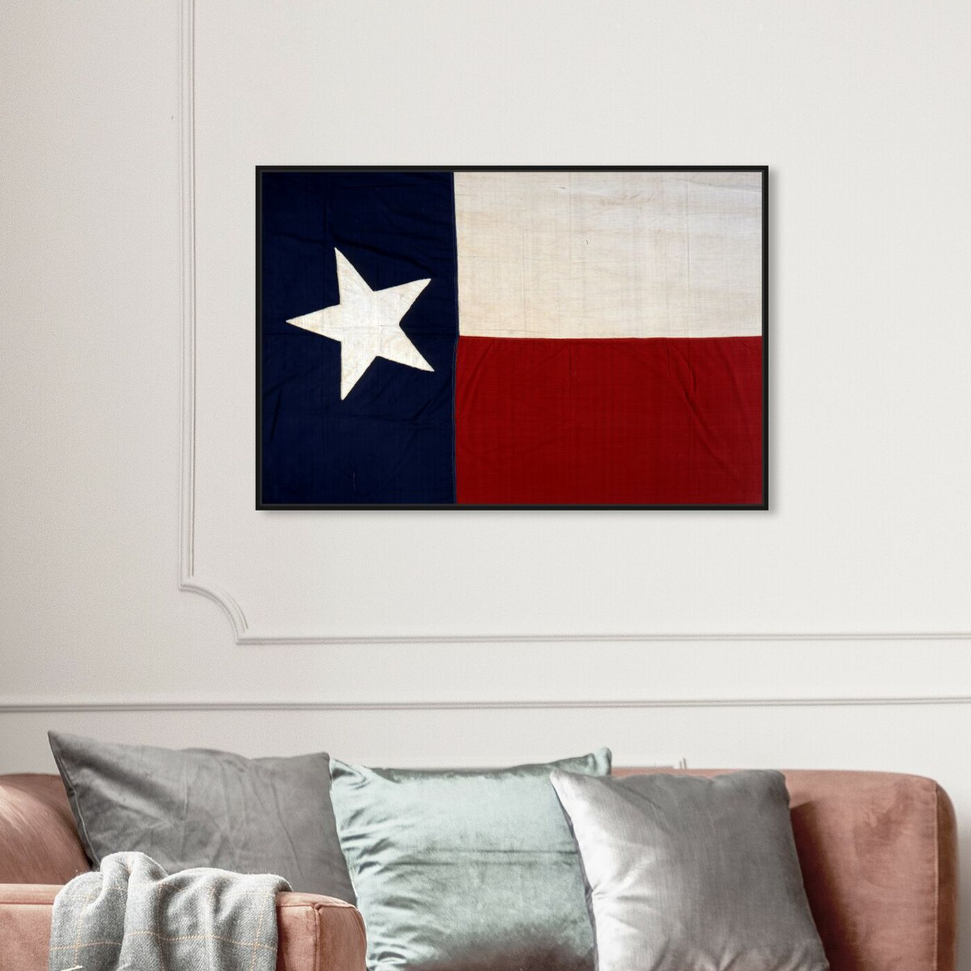 Hanging view of Lone Star Flag featuring maps and flags and us states flags art.