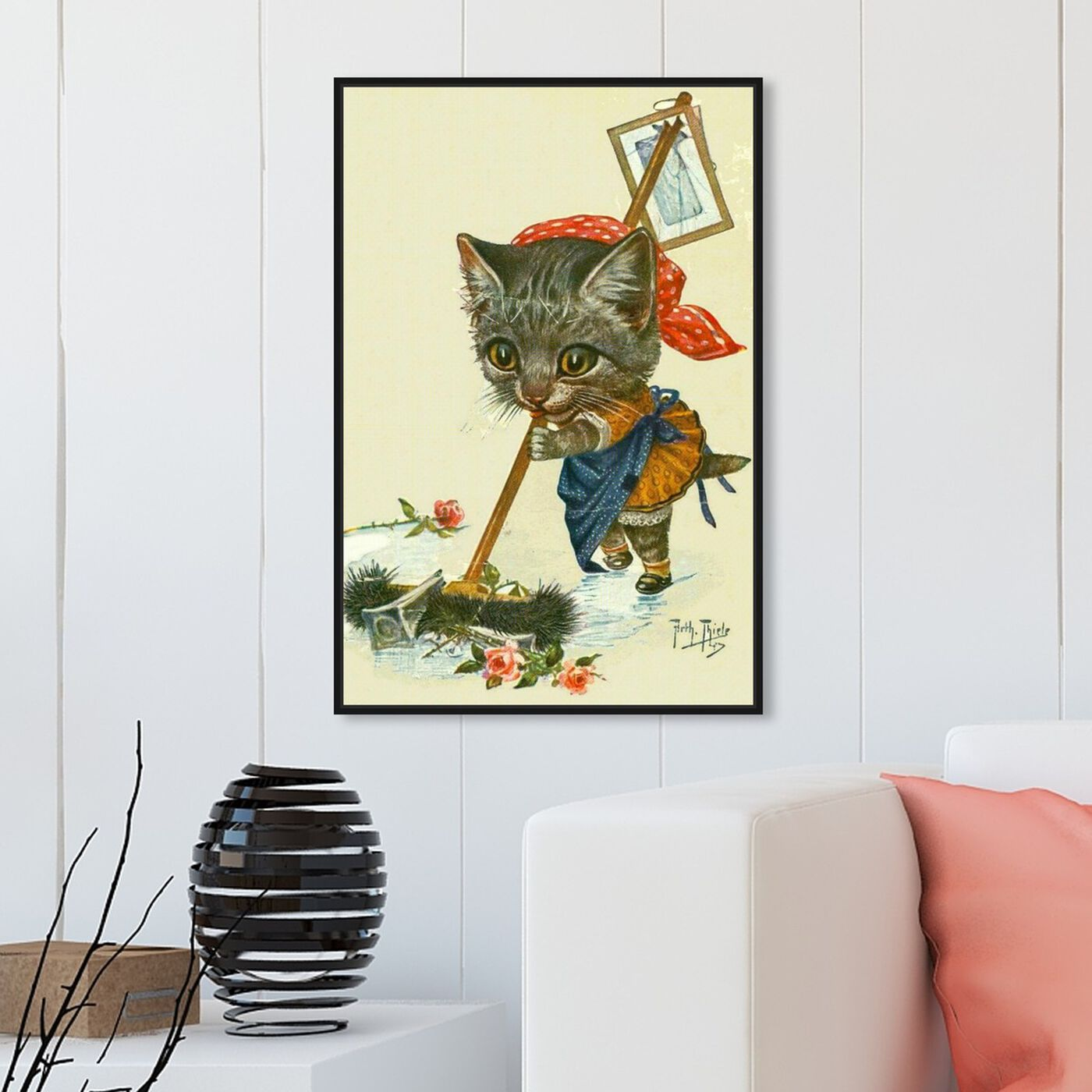 Hanging view of Kitty Cleaning Up featuring animals and cats and kitties art.
