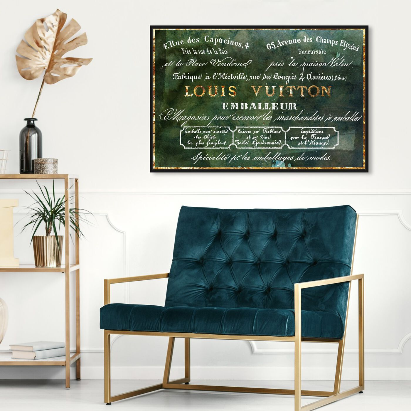 Hanging view of Emballeur Emerald featuring fashion and glam and road signs art.