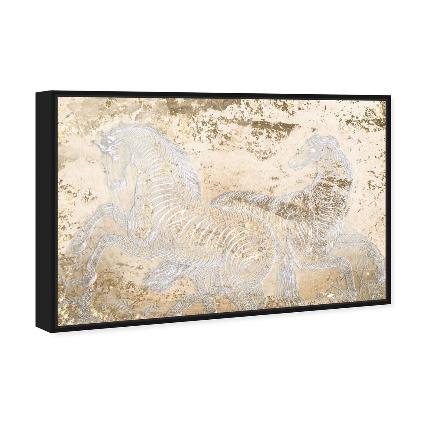 Angled view of Gold Equestrian featuring animals and farm animals art.