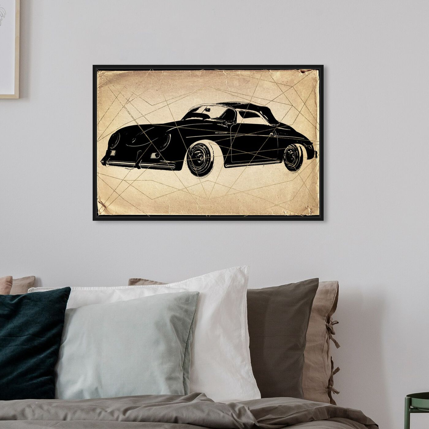 Hanging view of Porsche Print featuring transportation and automobiles art.