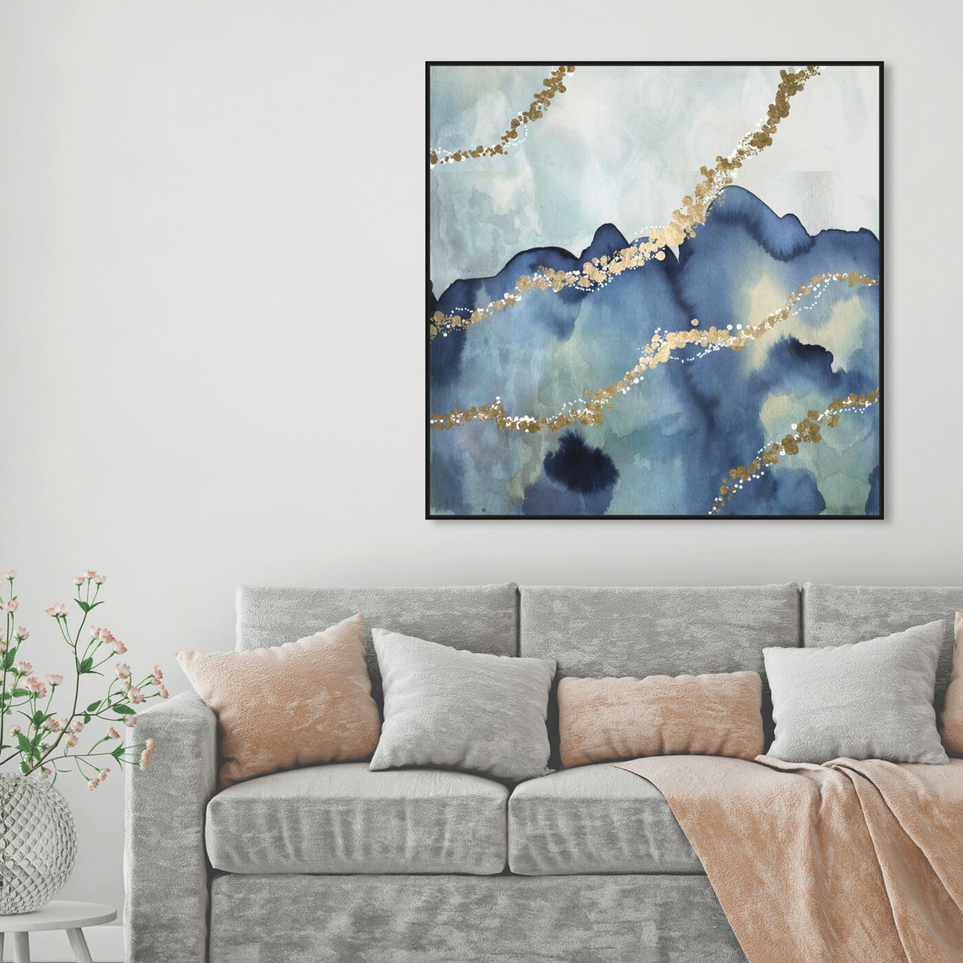 Hanging view of More than Love featuring abstract and watercolor art.