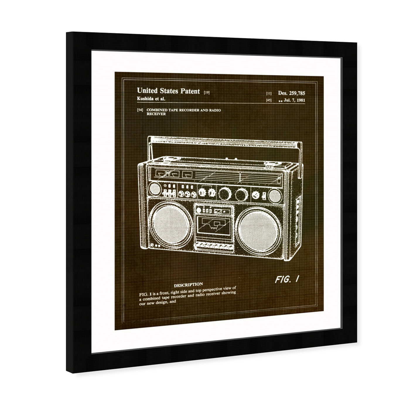Angled view of Boombox 1978 featuring music and dance and music instruments art.