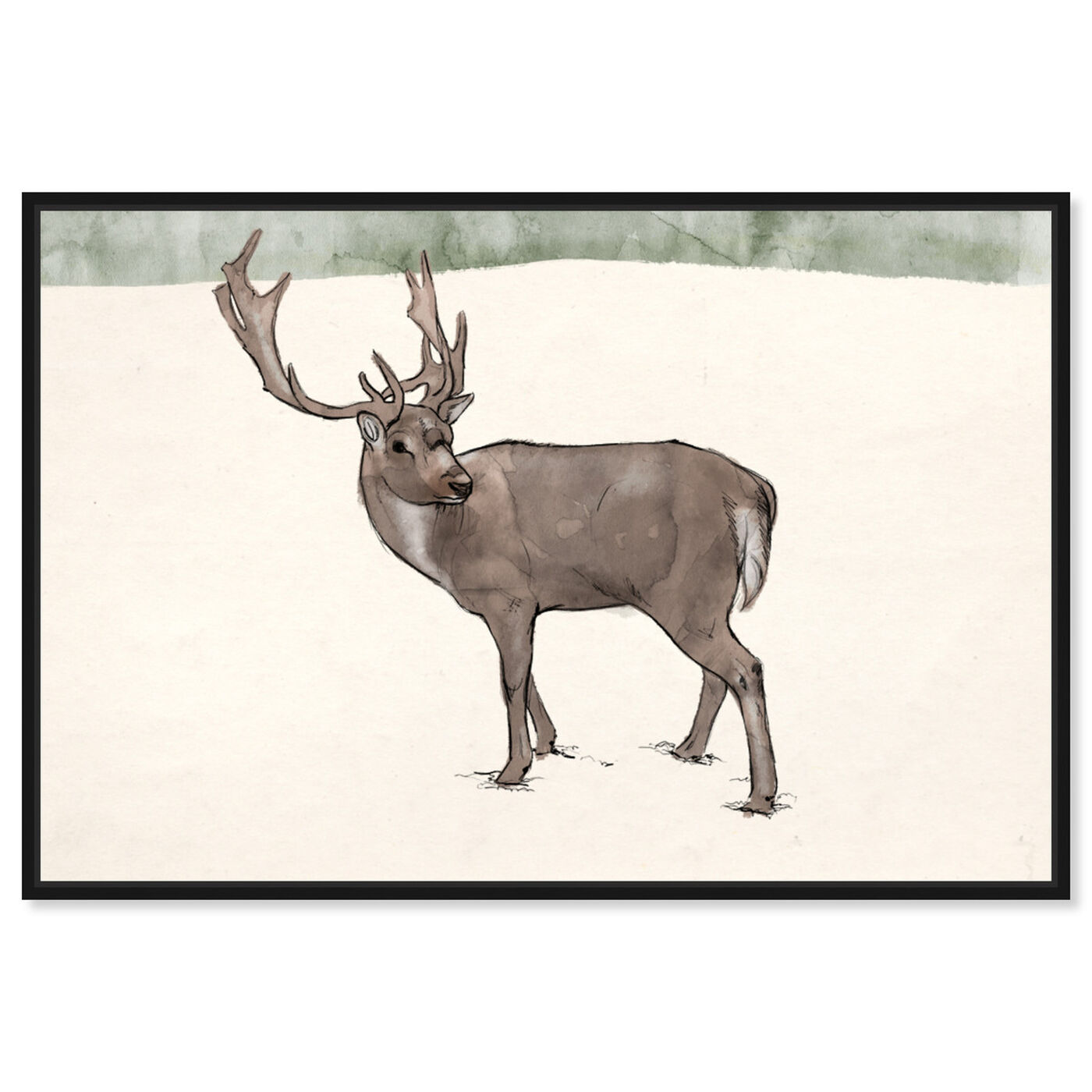 Front view of Lone Reindeer featuring animals and zoo and wild animals art.