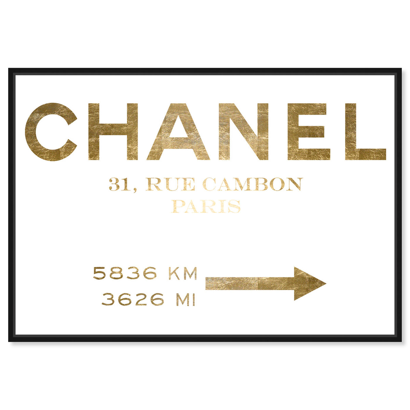 Front view of Couture Road Sign Minimalist Gold Foil featuring fashion and glam and road signs art.