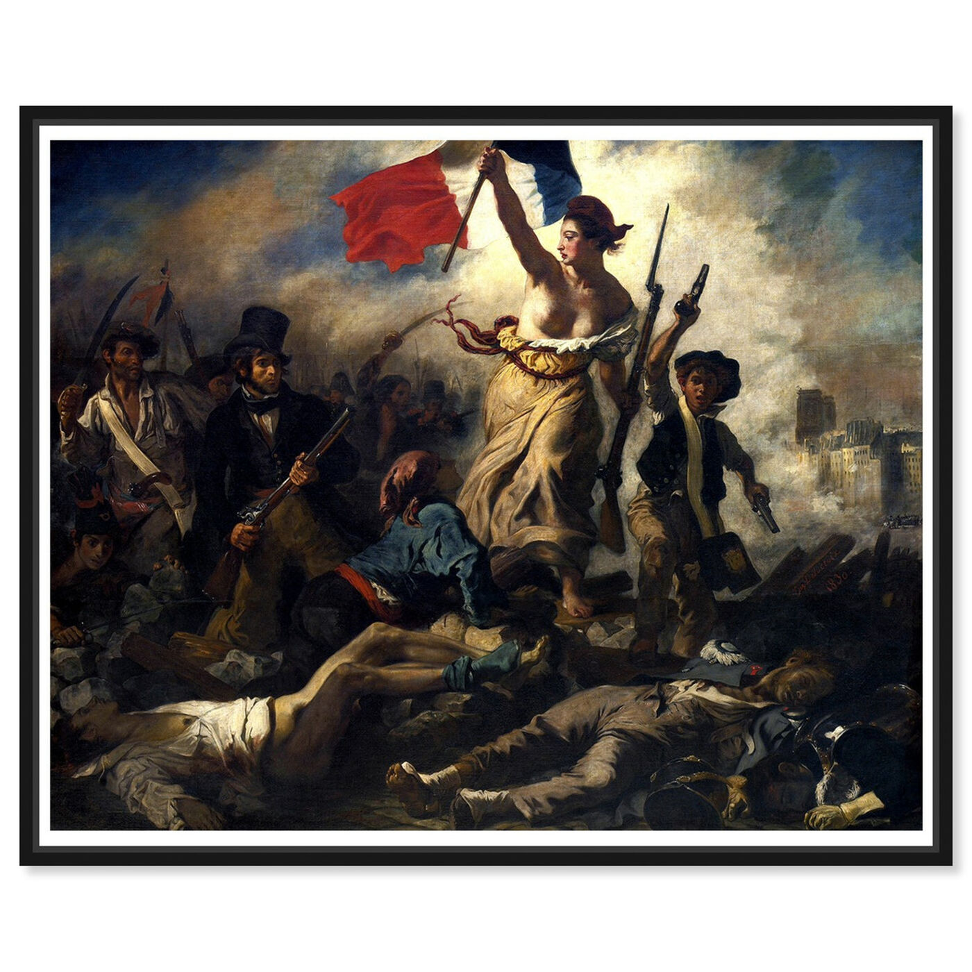 Front view of Delacroix - La Liberte Guidant Le Peuple featuring classic and figurative and classical figures art.
