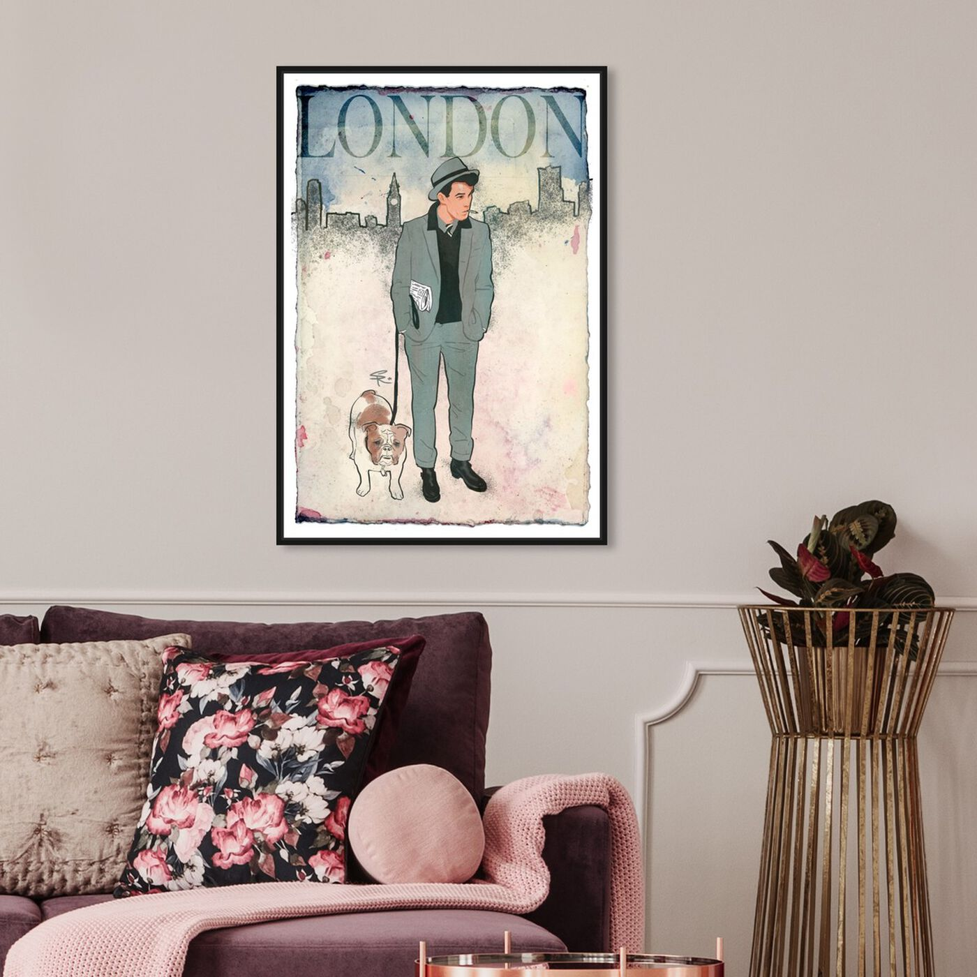 Hanging view of Esquire Gentleman II featuring cities and skylines and european cities art.