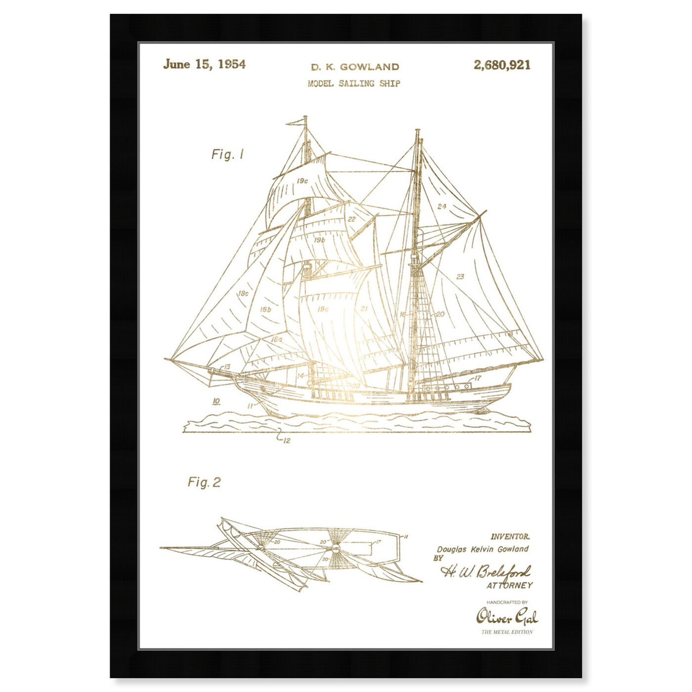 Front view of Model Sailing Ship 1954 I featuring transportation and boats and yachts art.