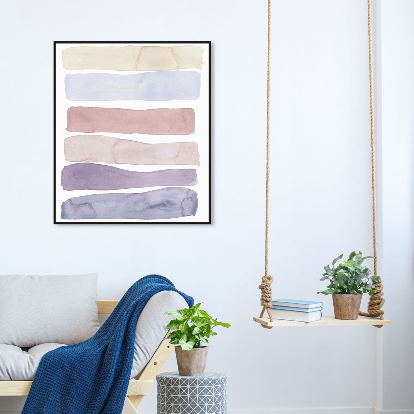 Hanging view of Light Lares featuring abstract and watercolor art.
