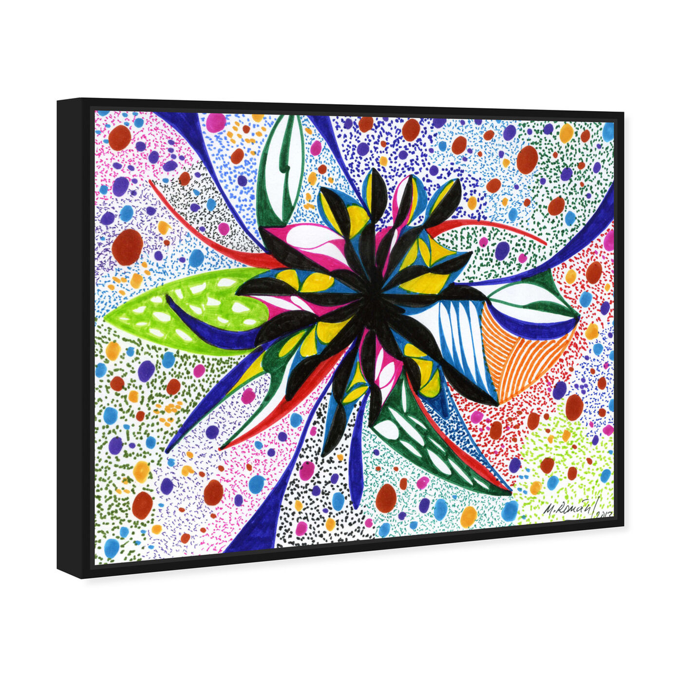 Angled view of Bromeliad featuring abstract and flowers art.