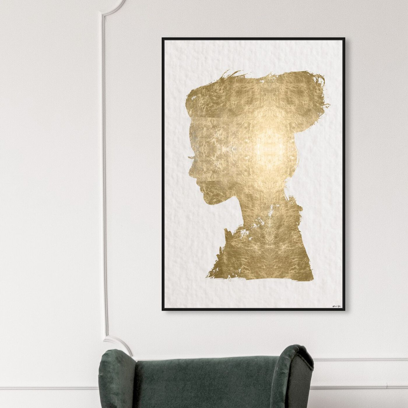 Hanging view of Beaute In Gold featuring fashion and glam and portraits art.