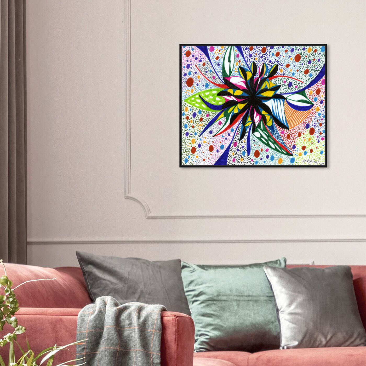 Hanging view of Bromeliad featuring abstract and flowers art.