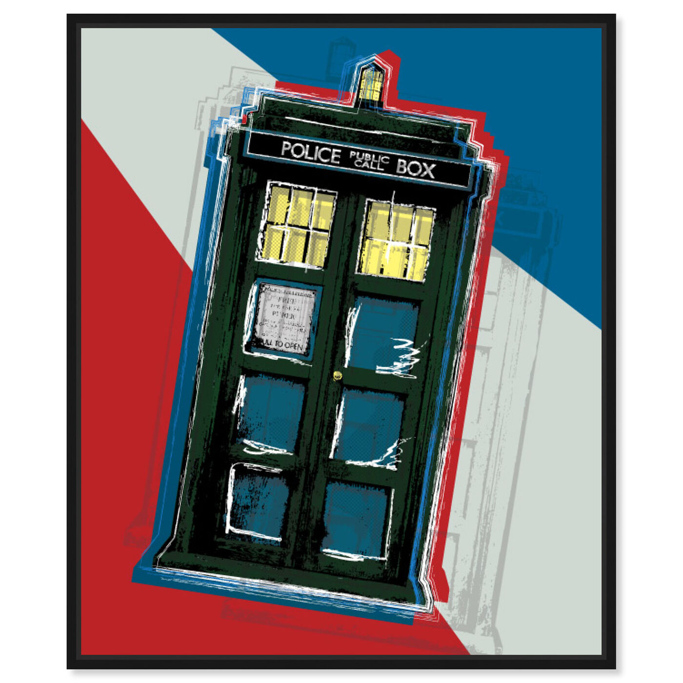 Front view of Tardis featuring world and countries and european cultures art.