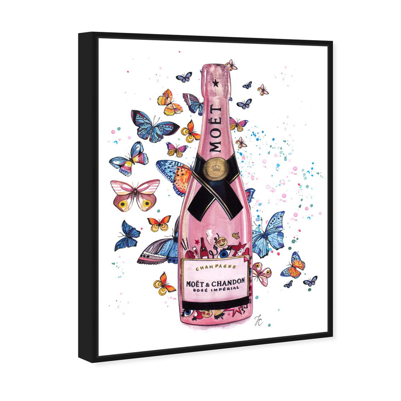 Angled view of Doll Memories - Champagne in Pink featuring drinks and spirits and champagne art.