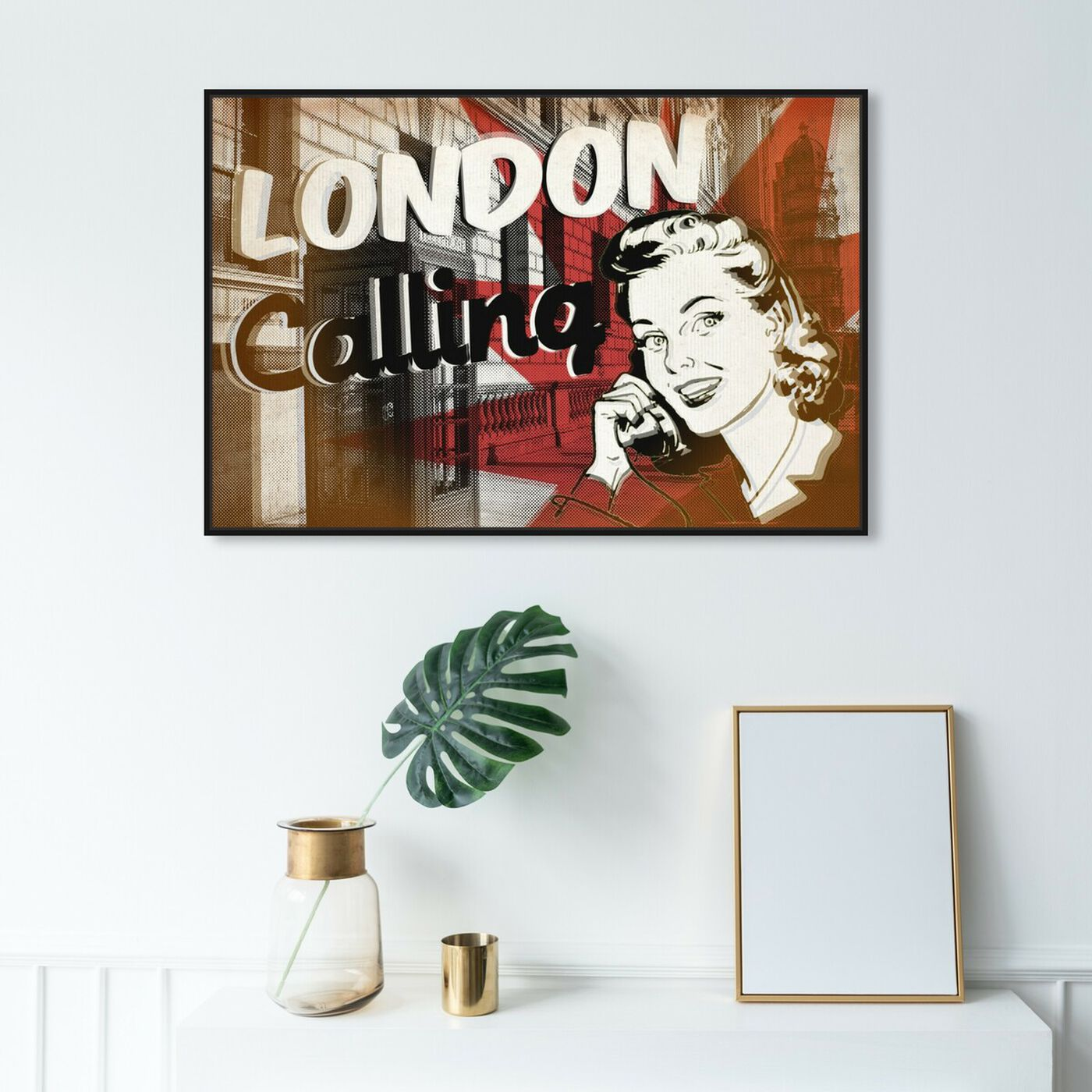 Hanging view of London Calling featuring advertising and posters art.