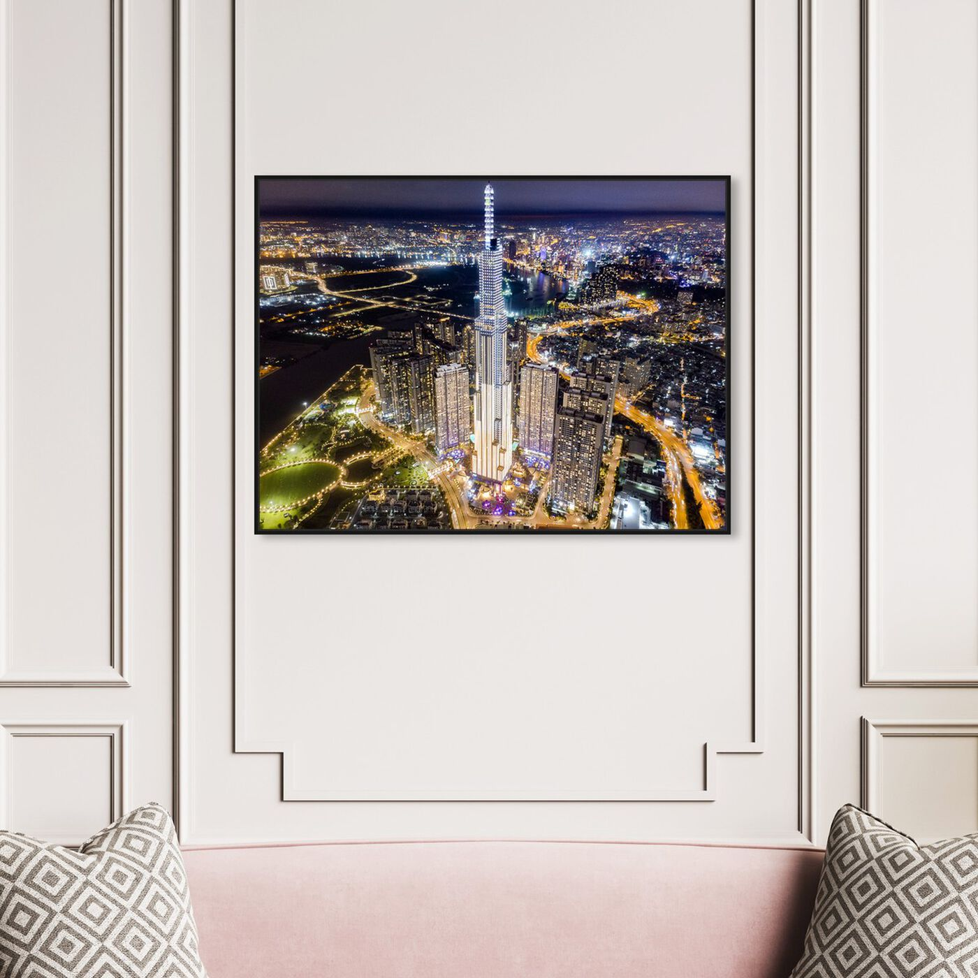 Hanging view of Curro Cardenal - Bright City Skyline featuring cities and skylines and world skylines art.