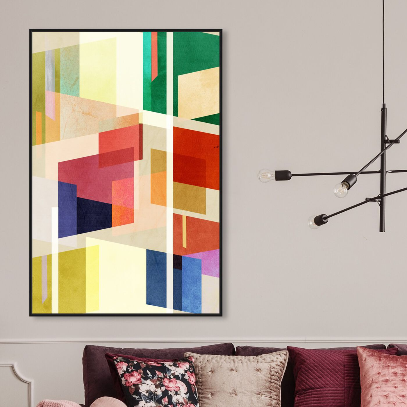 Hanging view of Midcentury Square Abstract featuring abstract and geometric art.