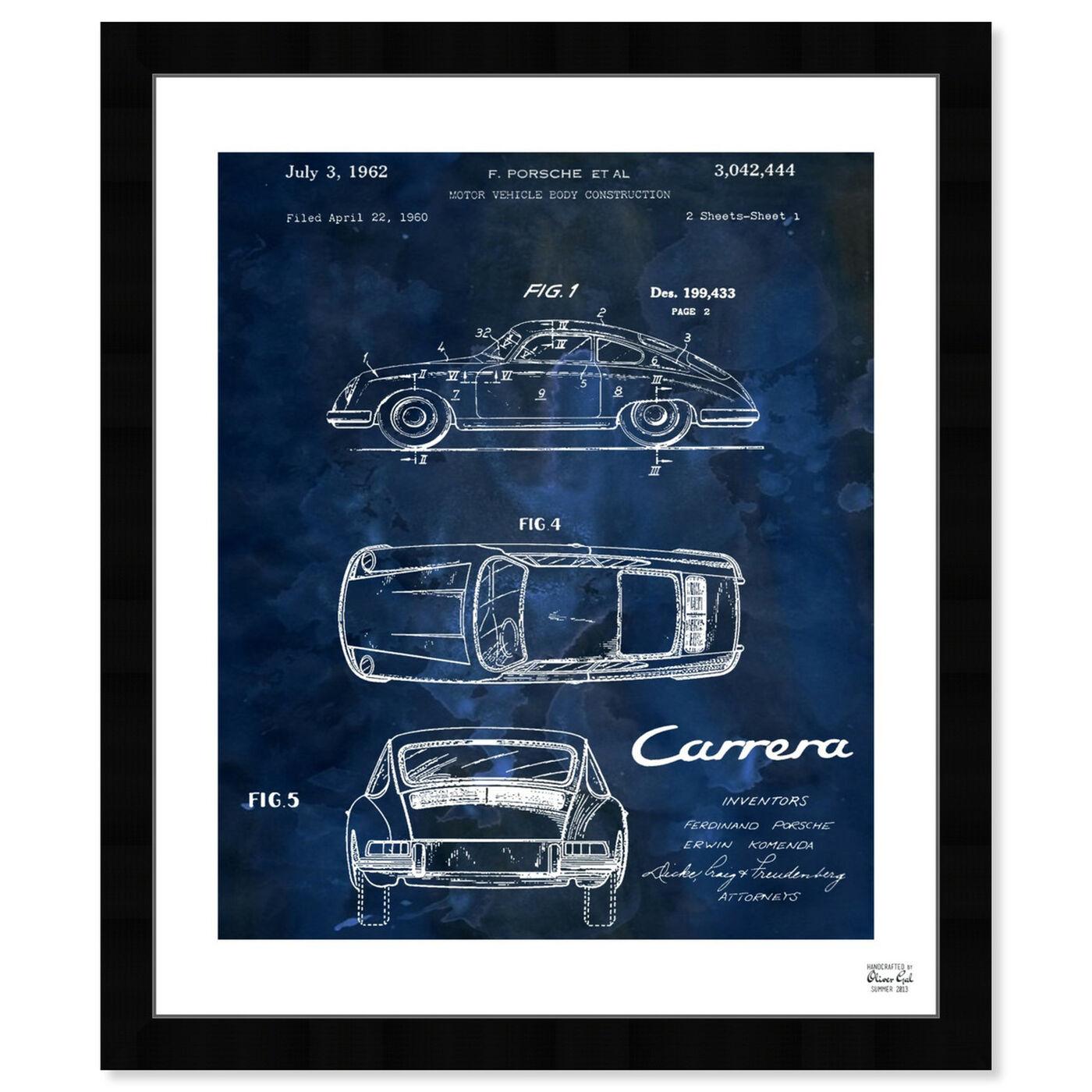 Front view of Carrera Porsche 1962 - Bleu featuring transportation and automobiles art.