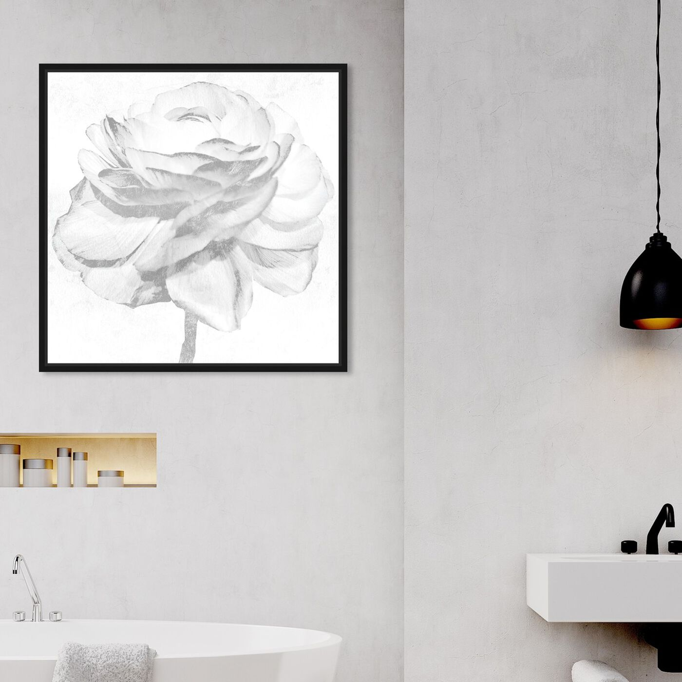 Hanging view of White Silver Peony featuring floral and botanical and florals art.