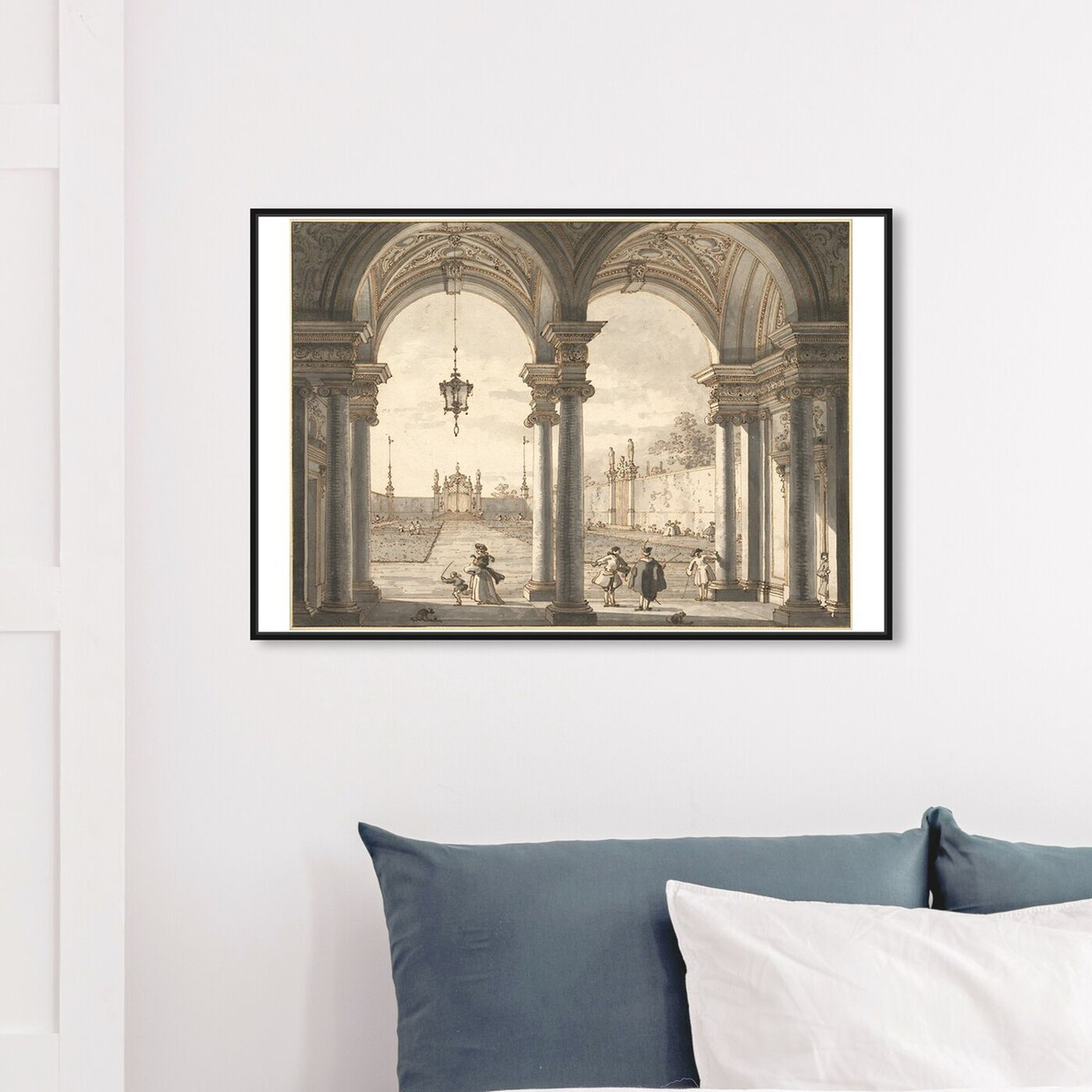 Hanging view of Canaletto - View Through a Baroque Colonnade featuring classic and figurative and classic art.