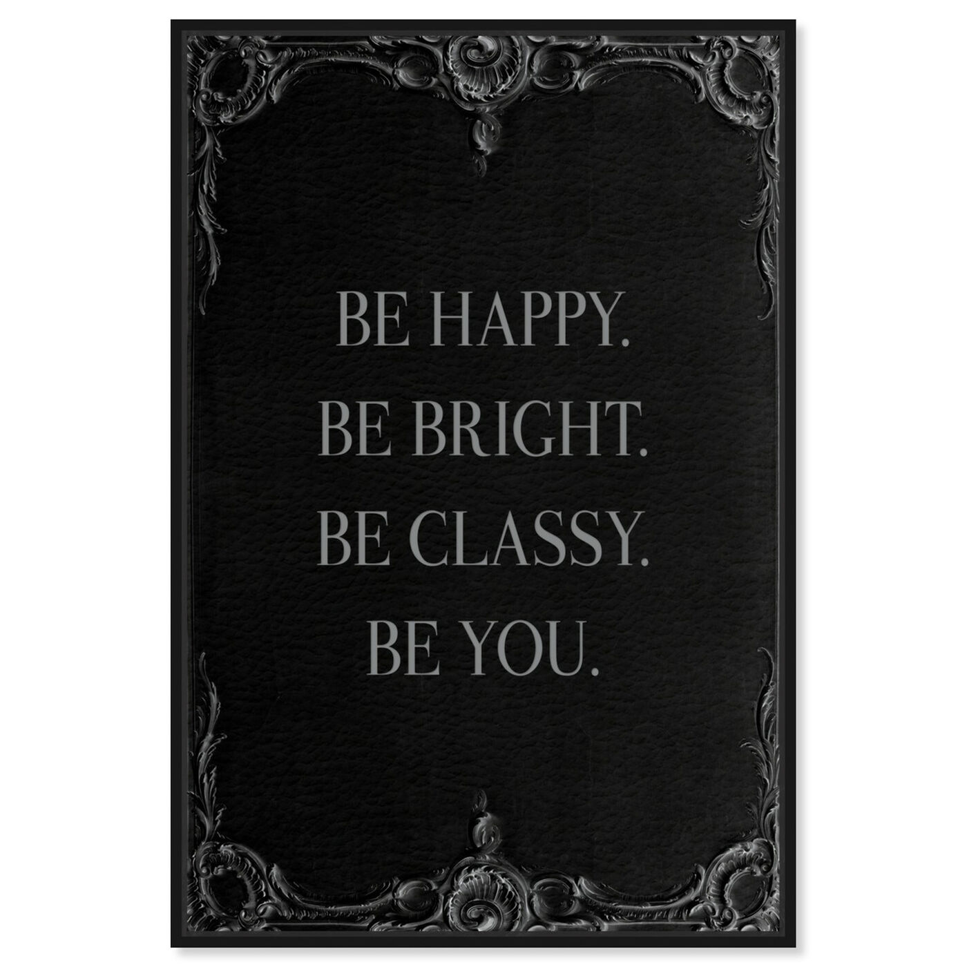 Front view of Be Happy Leather II featuring typography and quotes and inspirational quotes and sayings art.
