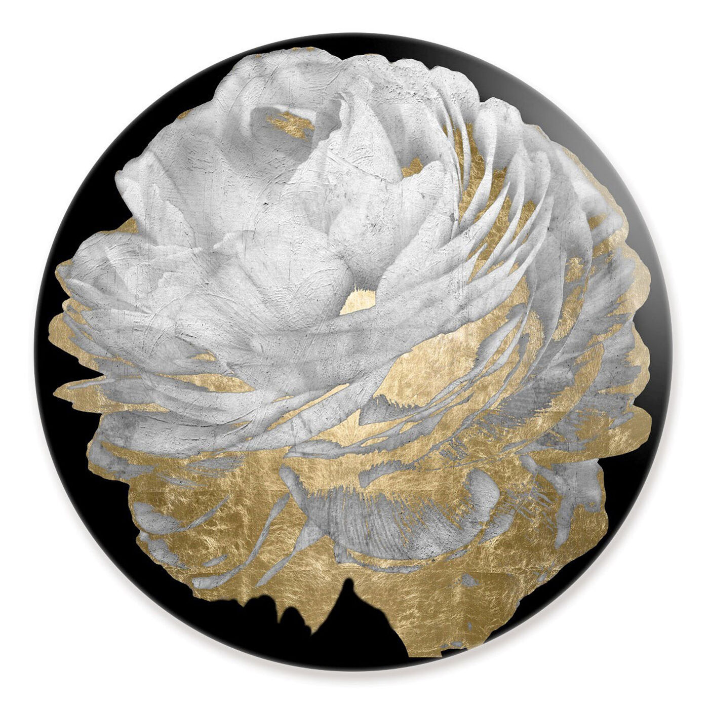 Front view of Gold and Light Floral Round featuring floral and botanical and florals art.