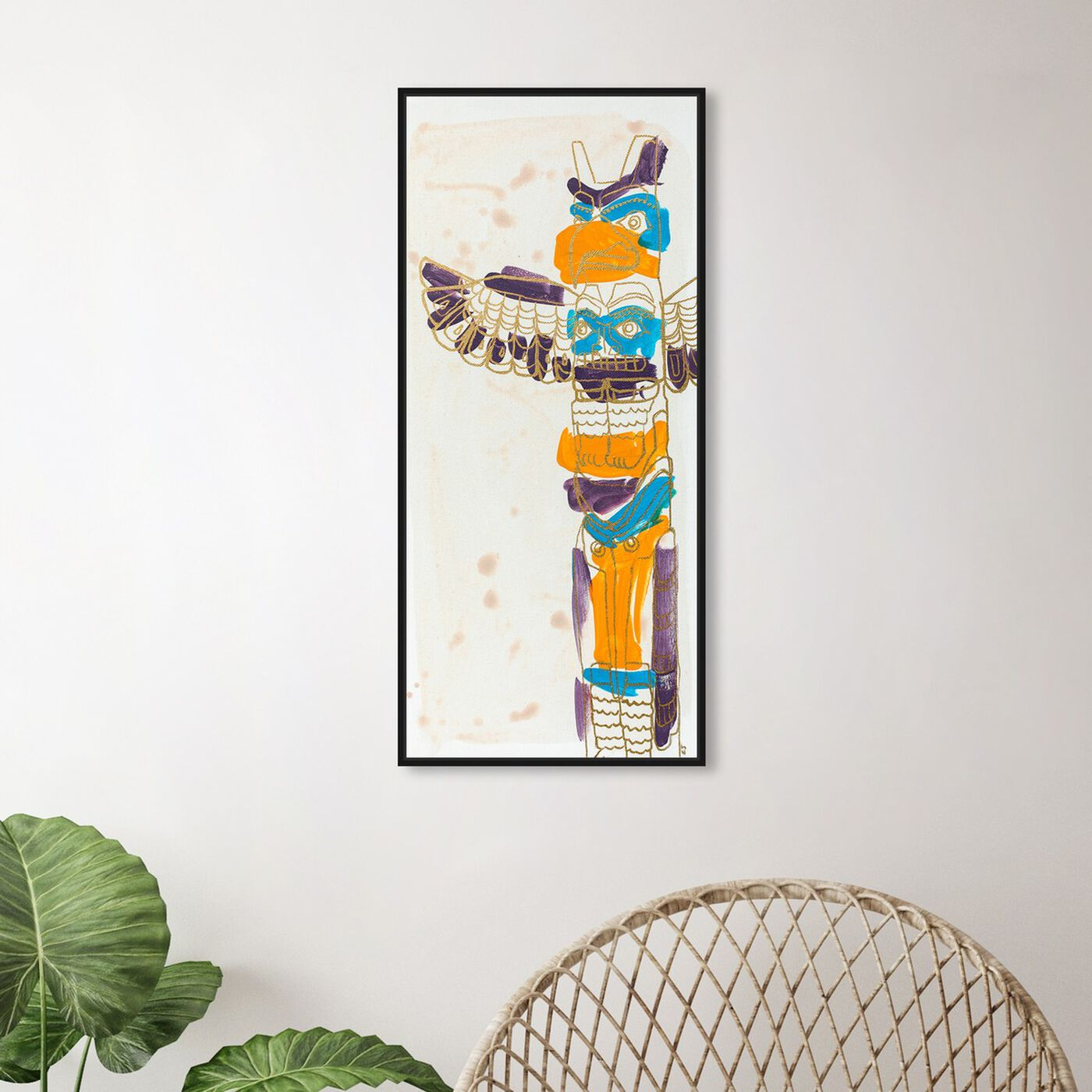 Hanging view of Celery Jones - Gold Lace Totem featuring symbols and objects and mystic symbols art.