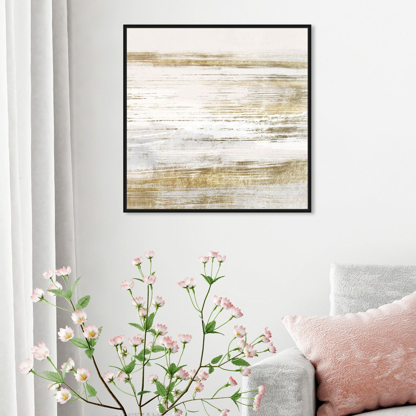 Hanging view of Blush Romance Gold featuring abstract and paint art.