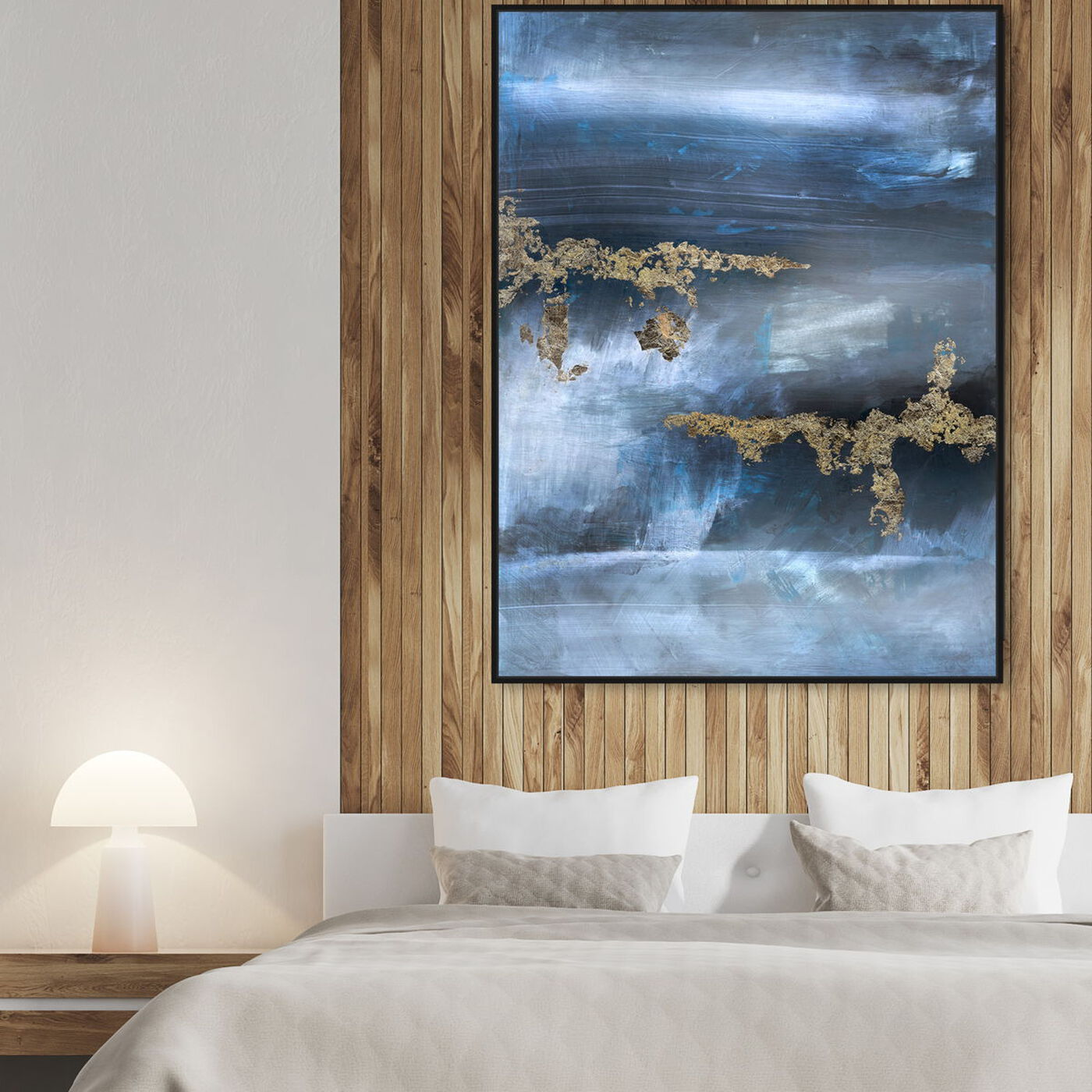 Hanging view of Golden blue featuring abstract and paint art.