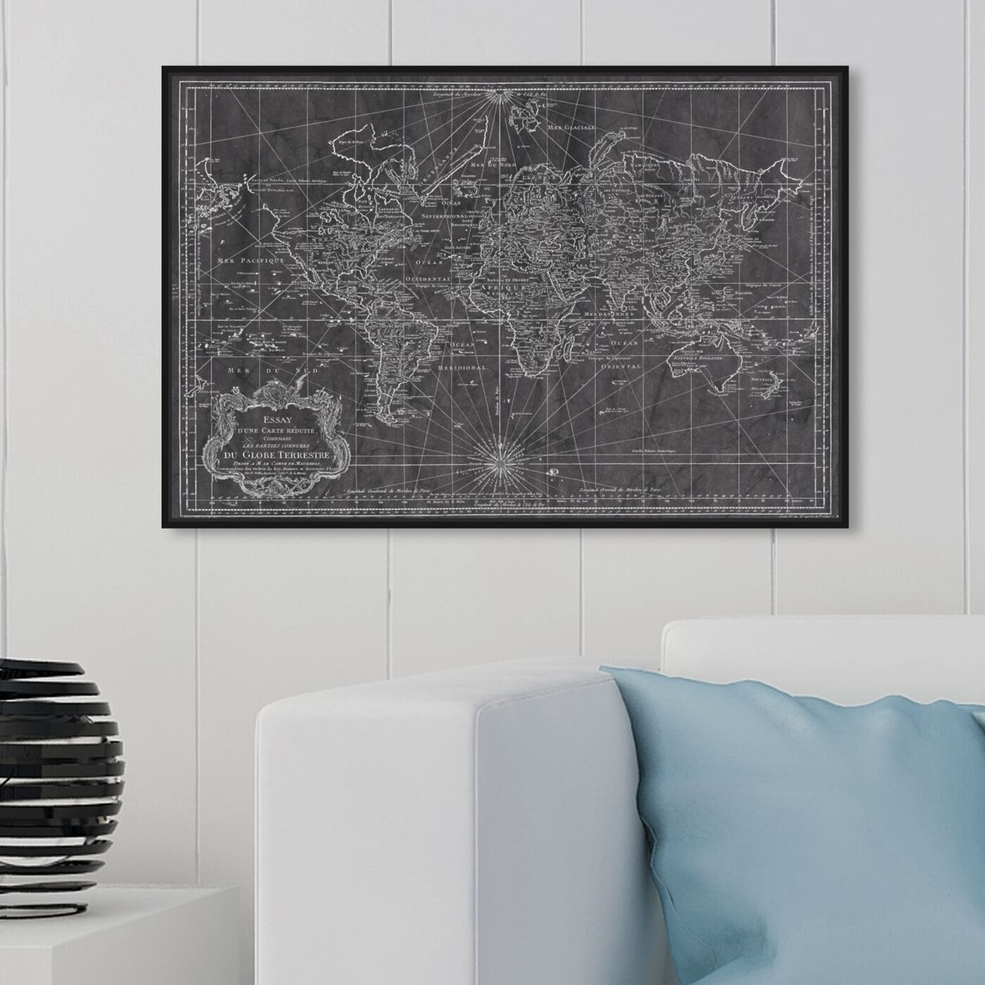 Hanging view of World Map 1778 featuring maps and flags and world maps art.