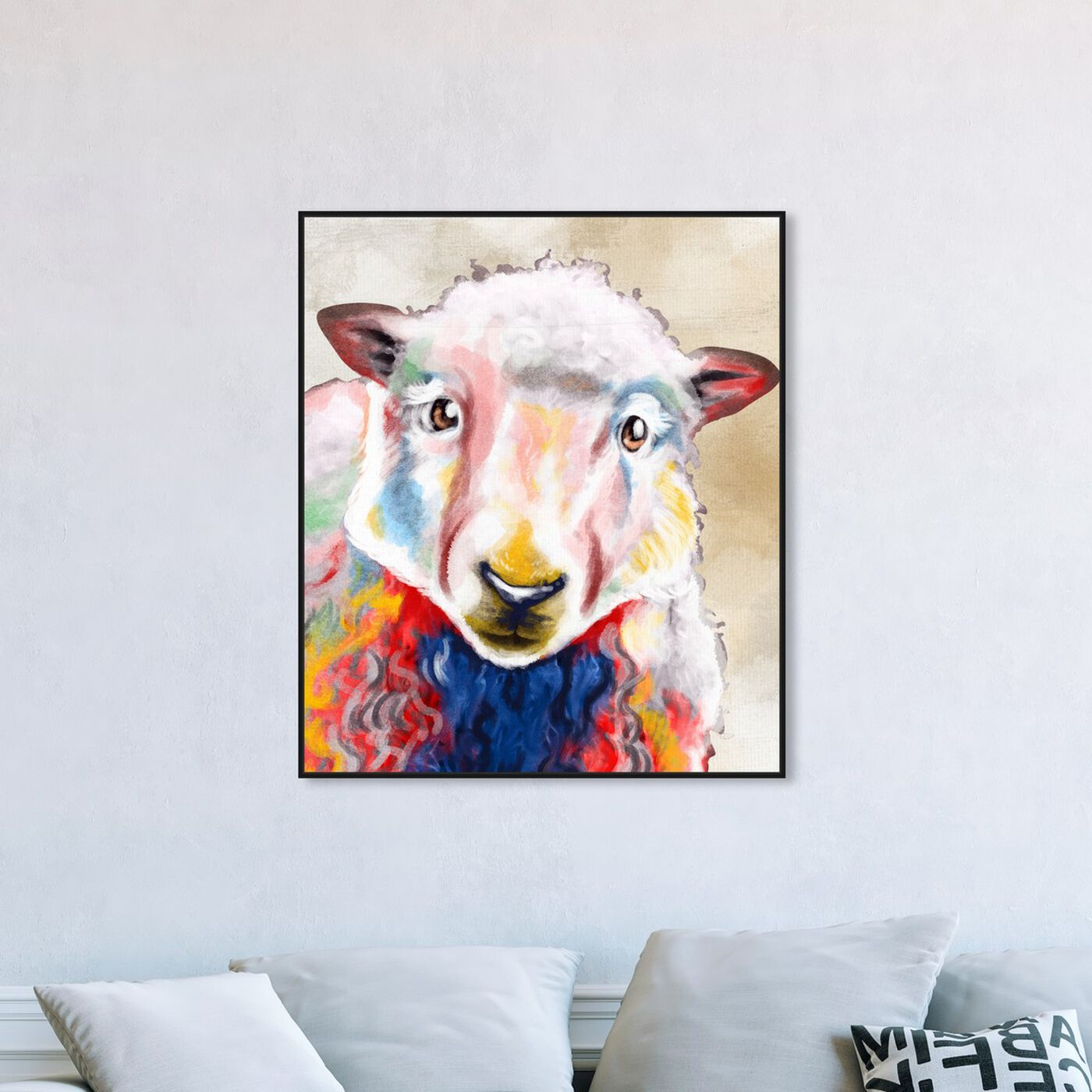 Hanging view of Color Splash Sheep featuring animals and farm animals art.