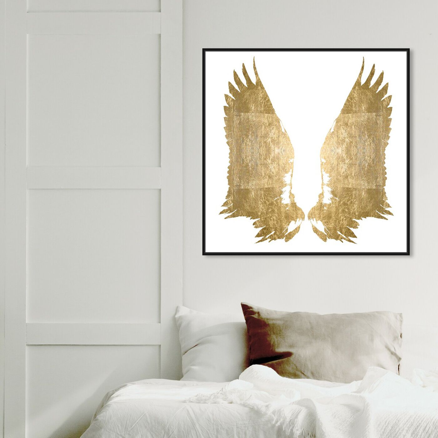 Hanging view of My Golden Wings Gold Foil featuring fashion and glam and wings art.