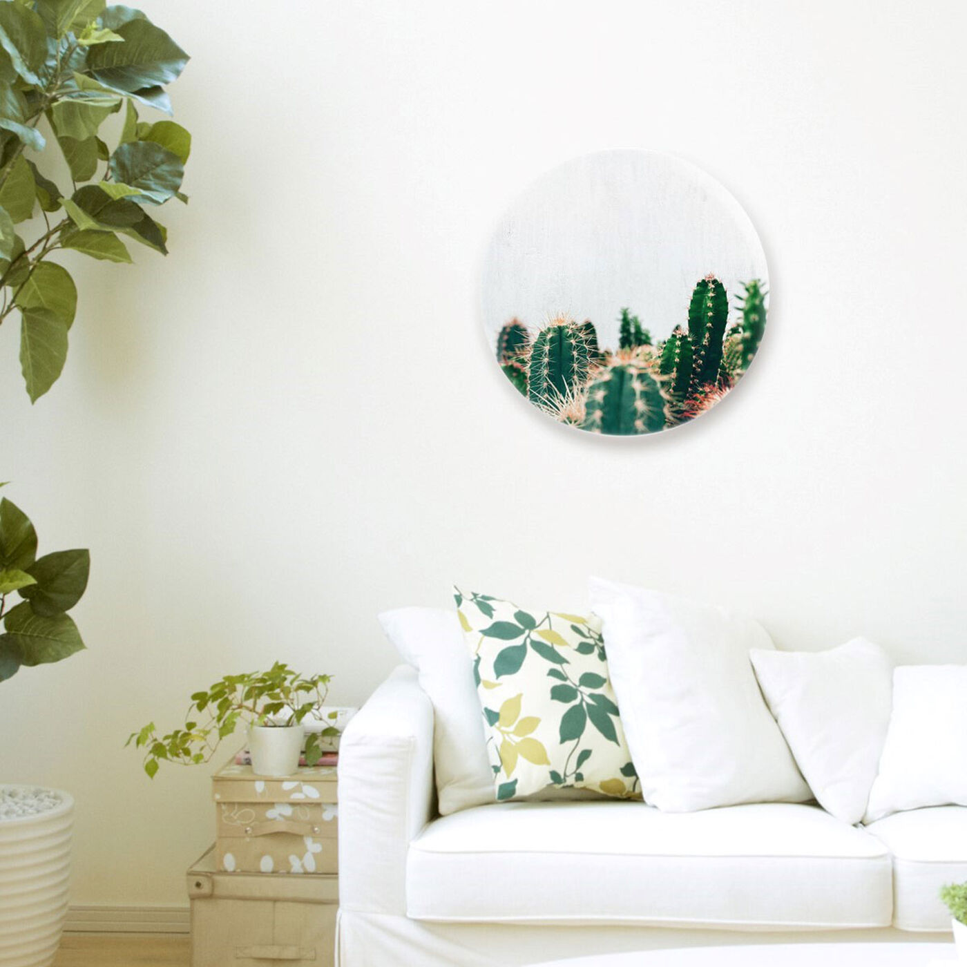 Hanging view of Cactus Family Circle featuring floral and botanical and botanicals art.